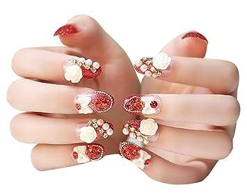 2 cajas (48 piezas) 3d diseño falsas uñas/uñas postizas conjuntos de boda, color rojo: Amazon.es: Belleza