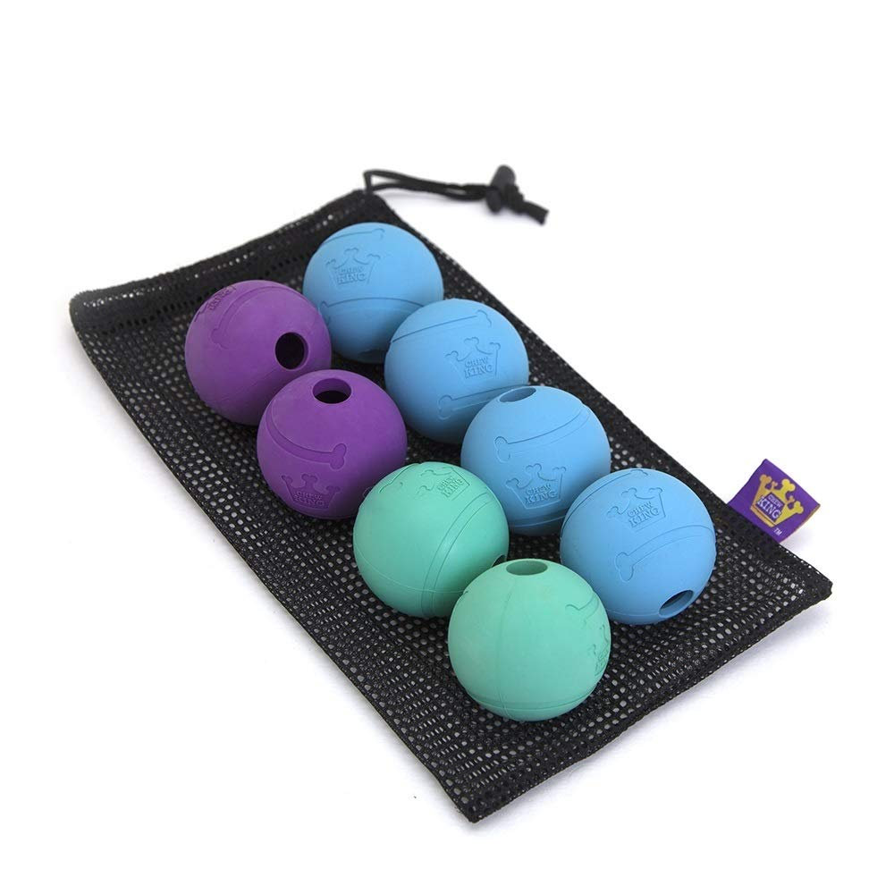 Chew King Fetch Balls Extremely Durable Natural Rubber Toy 2.5'', 8-pack