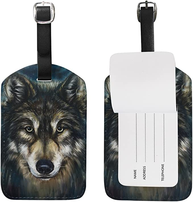 Wolf Handbag Tag For Travel Tags Accessories 2 Pack Luggage Tags