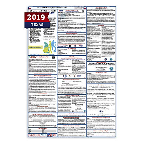 2019 Texas Labor Law Posters (Laminated) All-in-One State and Federal Approved, OSHA Compliant Vertical 27