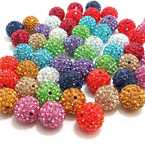 (RUBYCA Pave Czech Crystal Disco Ball Clay Beads fit Shamballa Jewelry (100pcs, 8mm, 30 Colors Mixed))