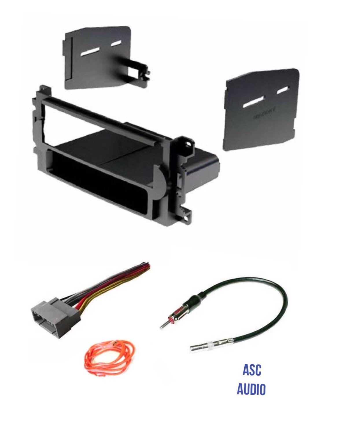 ASC Audio Car Stereo Radio Install Dash Kit, Wire Harness, and Antenna Adapter to Add a Single Din Radio for some Chrysler Dodge Jeep without Factory Navigation- Vehicles listed below by ASC Audio