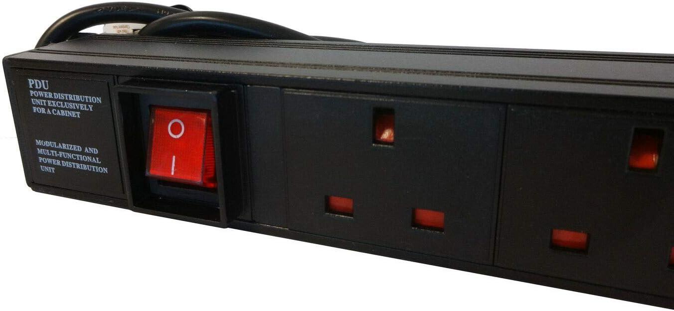 6u 450mm 19 Black Wall Mounted Data Cabinet c//w 6 way PDU Power Distribution Unit /& Cat5E Panel