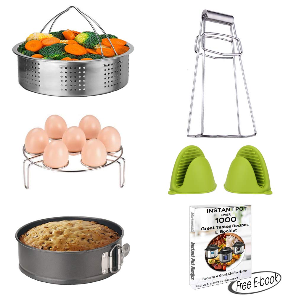 Instant Pot Accessories Set Pressure Cooker 6 PCS-Fits 5,6,8 Quart(Qt) - Steamer Basket, Non-stick Spring-form Pan, Egg Steamer Rack, Bowl Clip, 1 Pair Silicone Cooking Pot Mitts, Free Recipe E-book