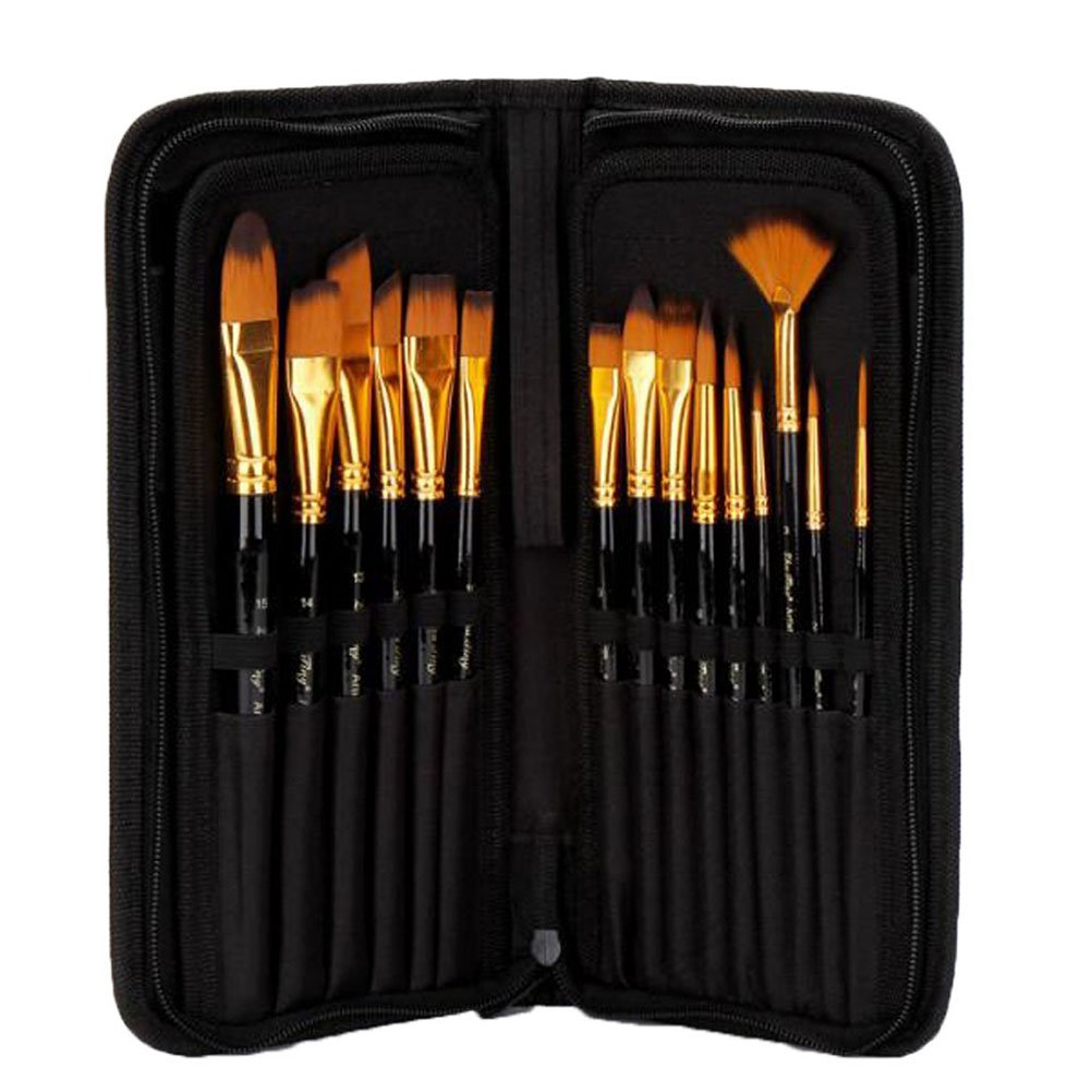 WINOMO Pinsel Set 15 professionelle Art Pinsel f/ür Acryl Aquarell /Öl Gouache und Kinderschminken /Ölgem/älde Bursh mit schwarzen Stoffbeutel