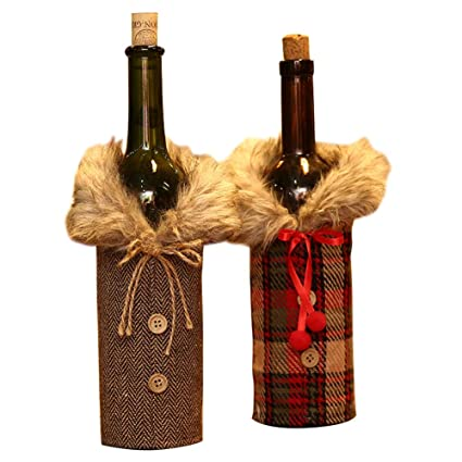 Amazon.com: Exttlliy 2Pcs Cloth Christmas Wine Bottle Cover ...