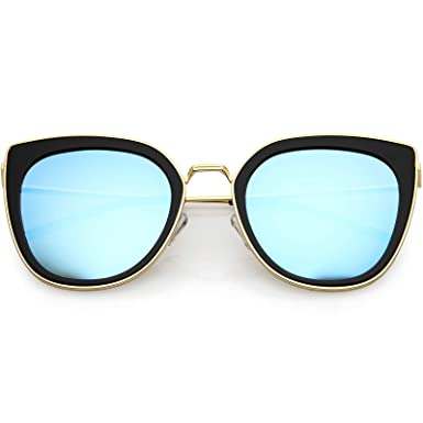 ba1c4dcfd0 zeroUV - Polarized Cat Eye Sunglasses For Women Metal Trim Colored Mirror  Lens 52mm (Black