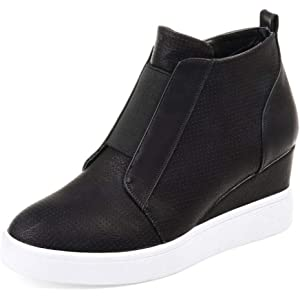 7606bc7c5ce8 Imysty Women s Fashion Sneakers Side Zipper Platform High Top Wedge Sneaker Sports  Shoes