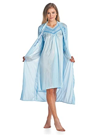 d6a8159f42 Casual Nights Women s Satin 2 Piece Robe and Nightgown Set - Embroidered  Blue - Medium