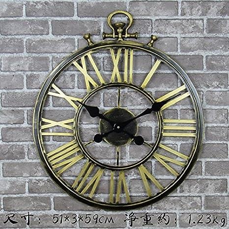 OLILEIO Reloj de pared grande Saat Reloj vintage Reloj de pared silencio Europeo Duvar Saati Relogio de Parede Creative Romano relojes digitales 50cm: ...