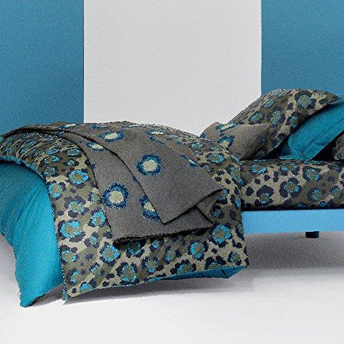 Price comparison product image Kenzo Leopard Blue King Sheet Set 4PC Turquoise Animal Print Egyptian Cotton