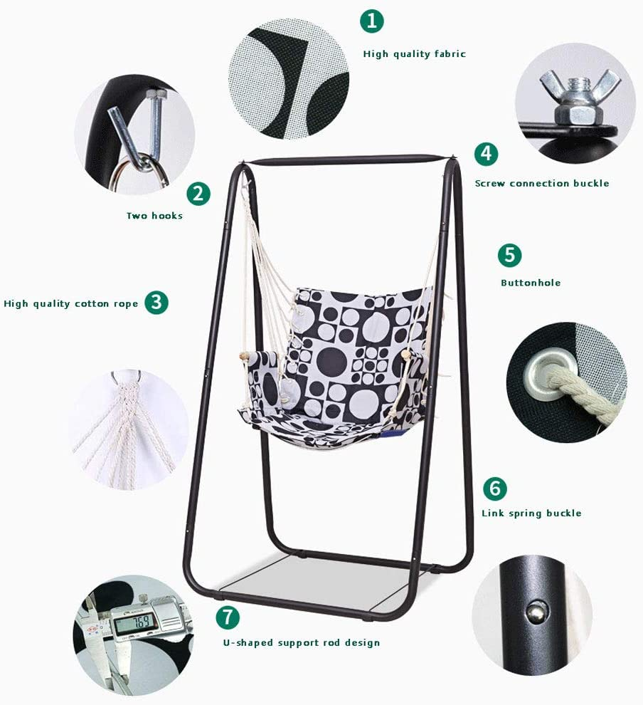 Hammock Hanging Rope Swing Chair Cotton for Indoor//Outdoor Home Patio NANANA Hammock Hanging Chair Air Swing Stand with Sturdy Space-Saving Stand 1.6x1x1M,White