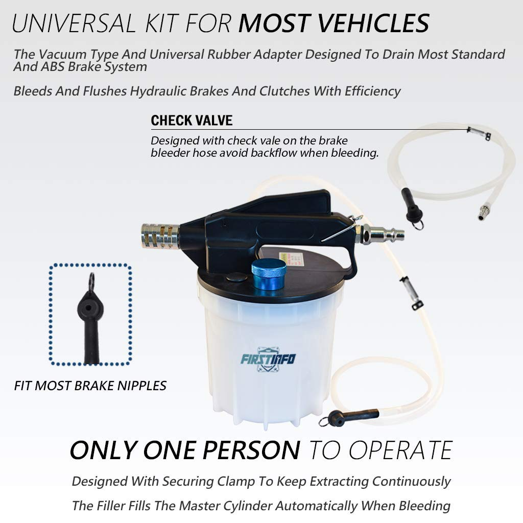 FIRSTINFO 2 Liter Pneumatic Brake Fluid Vacuum Extractor and Automatic Brake Fluid Bleeder/Pump Kit Include 4.9 ft Long Silicon Brake Fluid Hose with Check Valve by FIRSTINFO TOOLS FIT YOUR NEEDS (Image #2)