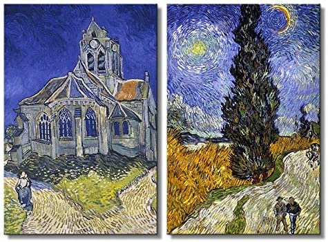 Cypresses The Church at Auvers by Vincent Van Gogh Oil Painting Reproduction in Set of Panels
