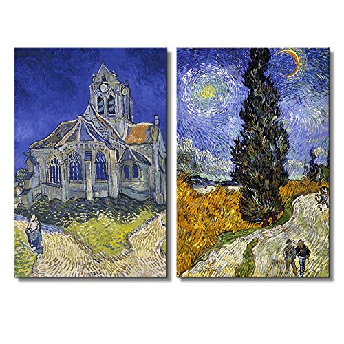 Cypresses The Church at Auvers by Vincent Van Gogh Oil Painting Reproduction in Set of 2 x 2 Panels