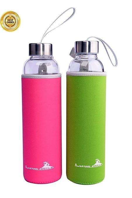 Amazoncom Lasting Charm Reusable Glass Water Bottle with Nylon