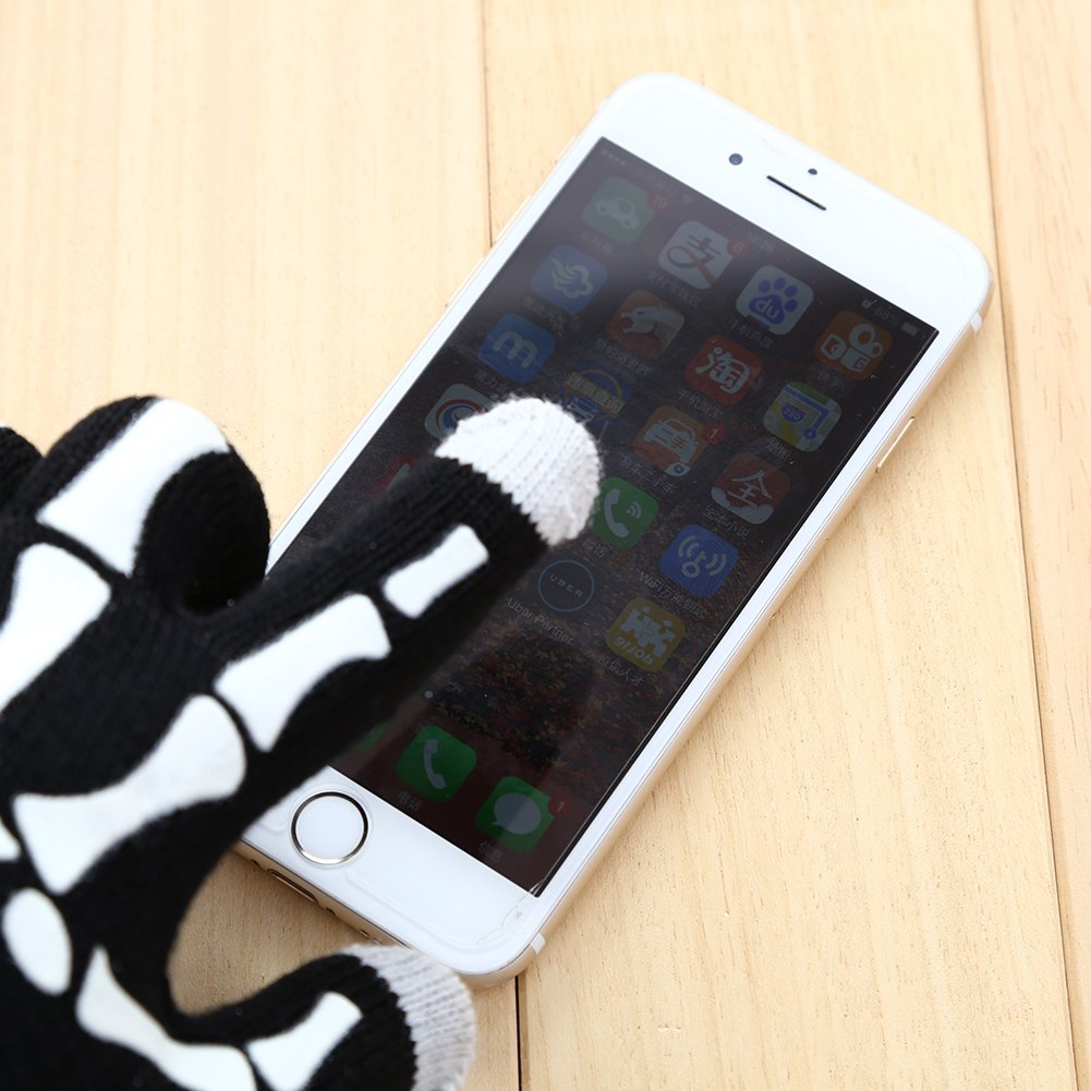 Auntwhale Men Women Comfortable Touch Screen White Bone Paw Gloves Party Cosplay Funny Mittens