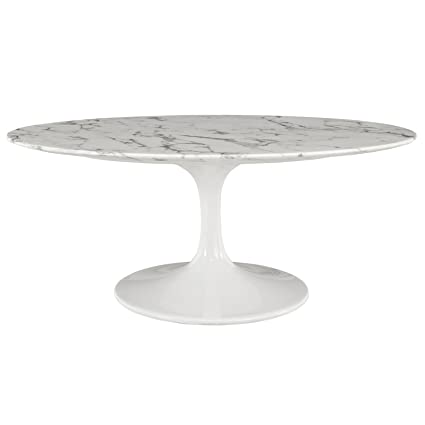 Beautiful Modway Lippa 42u0026quot; Oval Shaped Artificial Marble Coffee Table ...
