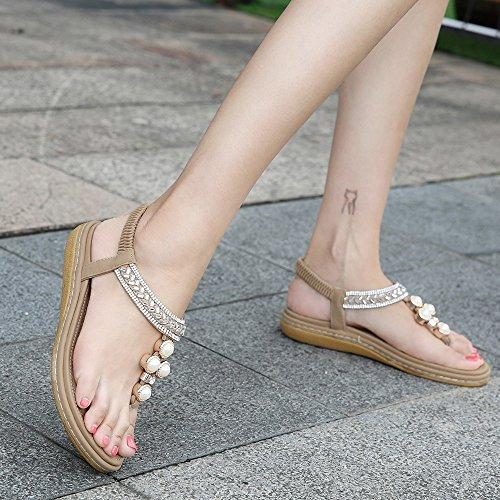 Bohemio Las Beach De De Mujeres SHANLY En De Moda Chanclas Beige Zapatillas Verano Cuero PU Sandalias De Clip Verano Sandalias qX4wwEZ