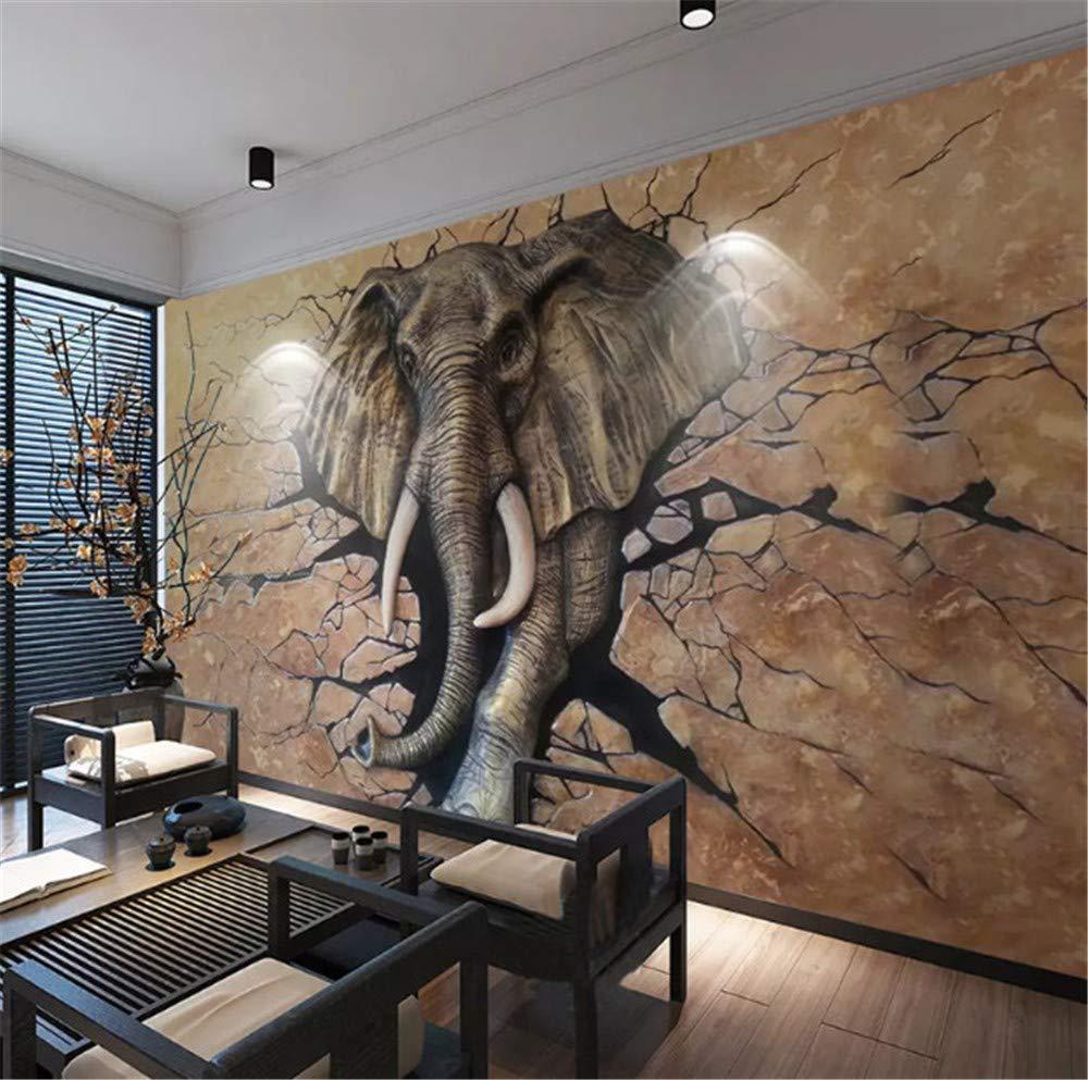 Wemall 3D geprägte Elefant brechen Wand in Foto Wandbild Tapete für Kinderzimmer Wohnzimmer Hintergrund Wand Wohnkultur, 250x175 cm (98.4 von 68.9 in)