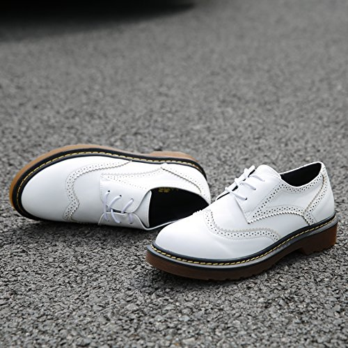 Meeshine Womens Brogue Oxfords Leather Low Flat Heel Lace Up Wingtip Vintage Dress Shoes White YgW4kzjX2