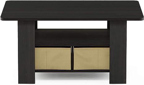 Furinno Coffee Table With Bins Espresso Brown Furniture Decor