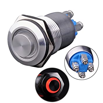Red Ulincos Latching Push Button Switch U16B2 1NO ON//Off Silver Stainless Steel Shell with Red LED Ring Suitable for 16mm 5//8 Mounting Hole