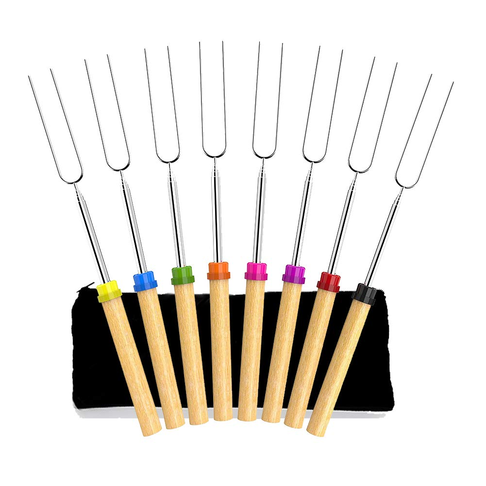 Angker Roasting Sticks, Marshmallow Roasting Sticks 32 Inch Extendable Forks for BBQ at the Campfire, Set of 8