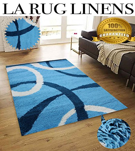LA RUG LINENS HUGE BLOWOUT SALE New 5x7 Light Blue Baby Blue White Navy Shag Shaggy Flokati Fluffy Fuzzy Furry Plush Contemporary Teddy Bear Touch High Pile Rug Carpet Area Rug (Popular 502 Turquoise)