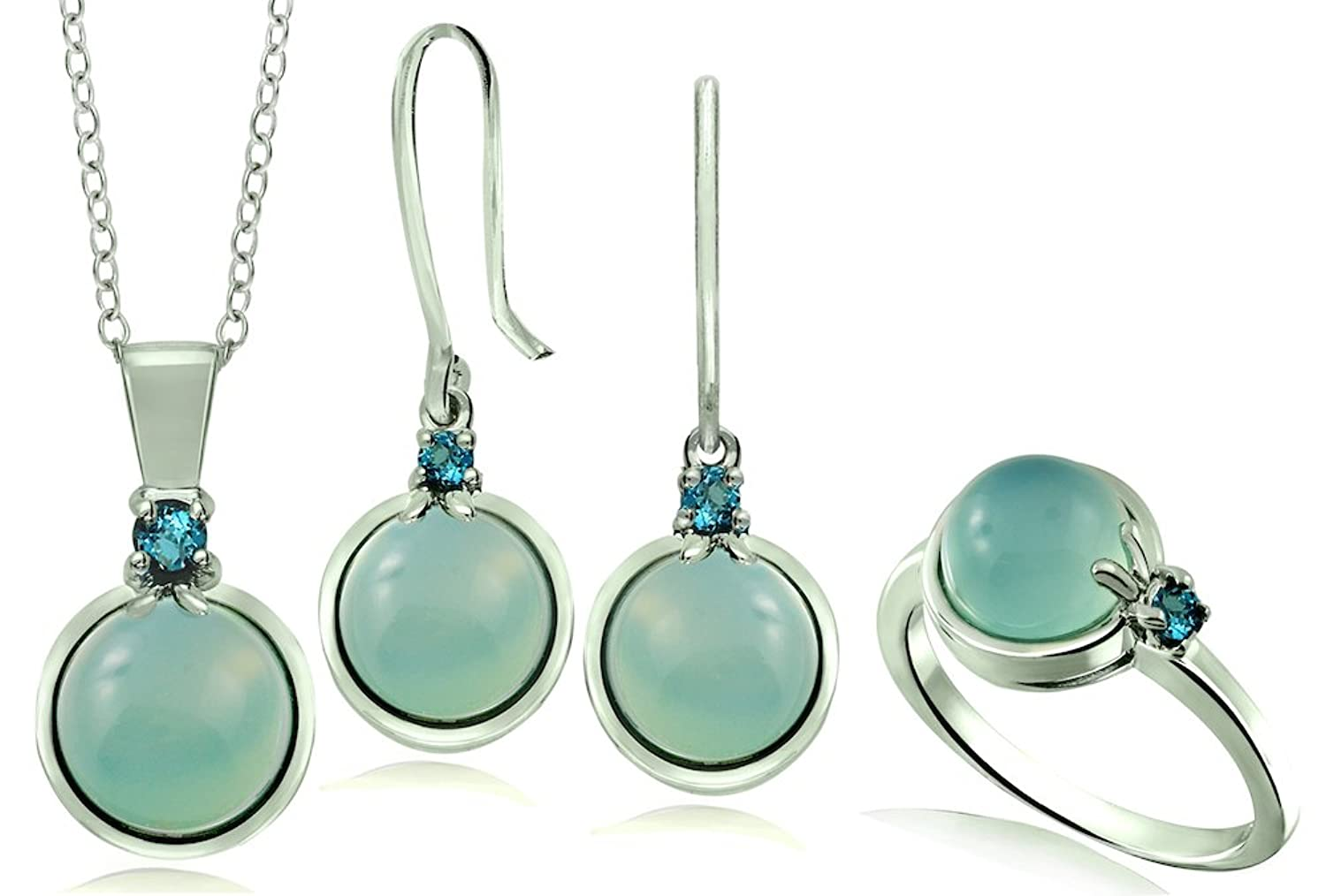 10.56 Carats Blue Chalcedony with London Blue Topaz Rhodium-Plated 925 Sterling Silver Jewelry Set