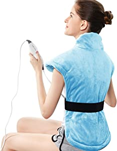 REVIX Extra Large Heating Pads for Back Neck and Shoulders Pain Relief Moist Electric Heat Wrap for Neck with Auto Shut Off UL Listed Warmer Sky Blue