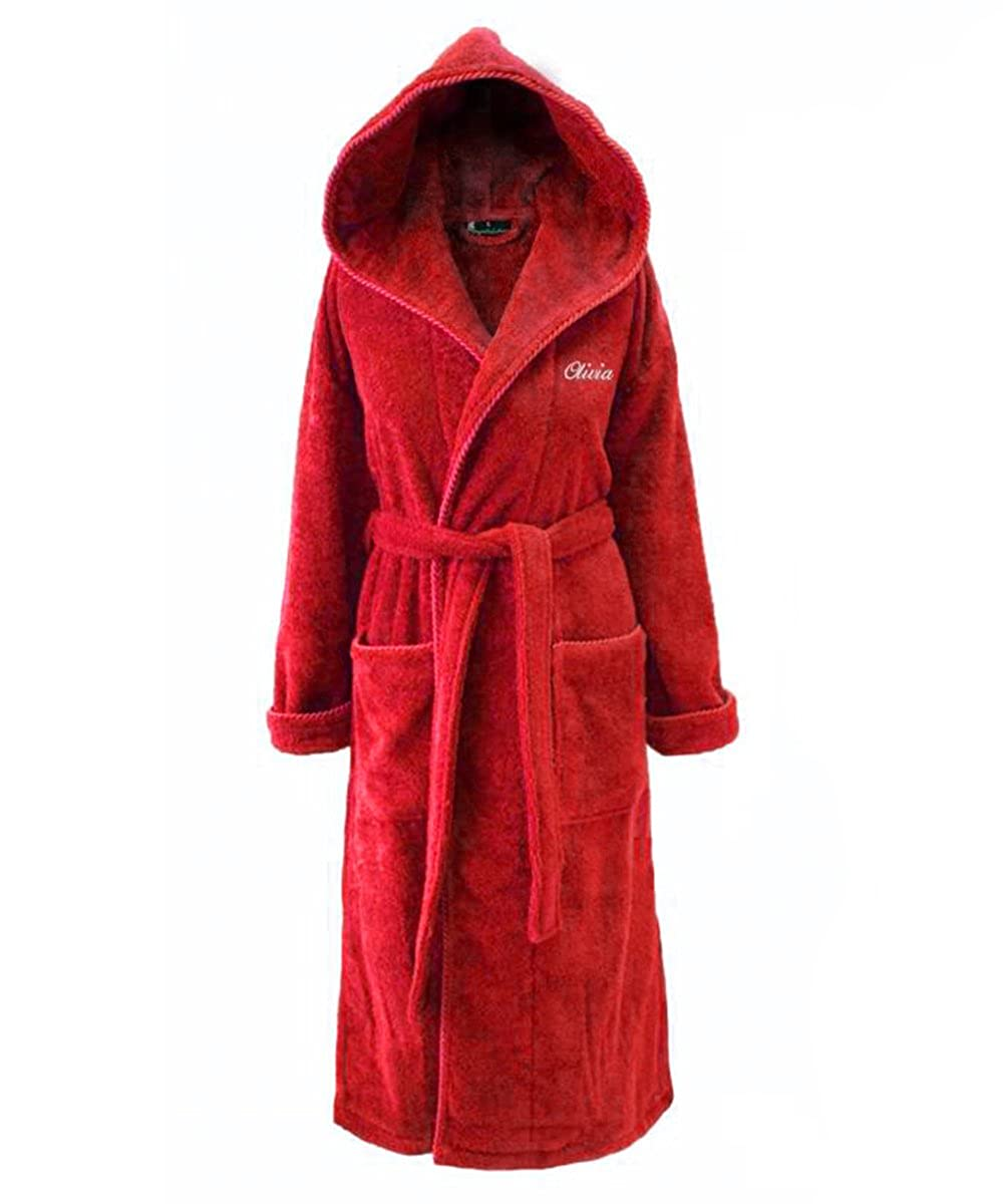 Personalised Hooded Towelling Bathrobe, Red with Spiral Cord, Red Dressing Gown