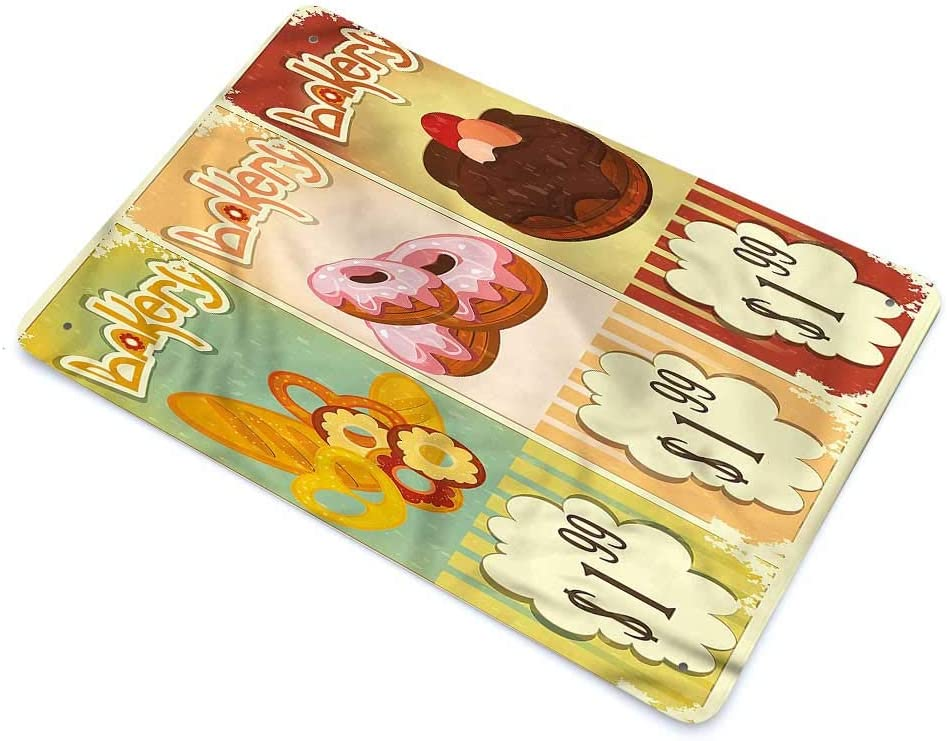 """GugeABC Wall Decor Vintage Country Home Decor Bakery Shop Pastries 12"""" W x 8"""" H"""