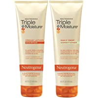 Neutrogena Triple Moisture Cream Lather Shampoo and Daily Deep Conditioner, 8.5 fl oz (Set of 2)