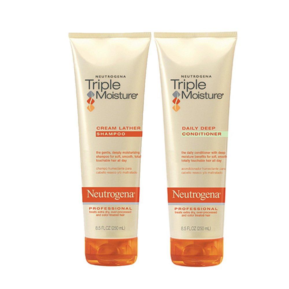 Neutrogena Triple Moisture Cream Lather Shampoo and Daily Deep Conditioner, 8.5 fl oz