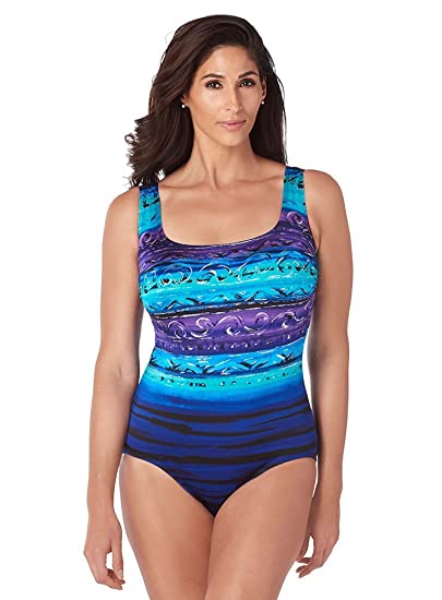 207f307a68970 Longitude Women's St.Lucia X-Back Tank One Piece Swimsuit with Soft Cup Bra  and Scoop Neckline at Amazon Women's Clothing store: