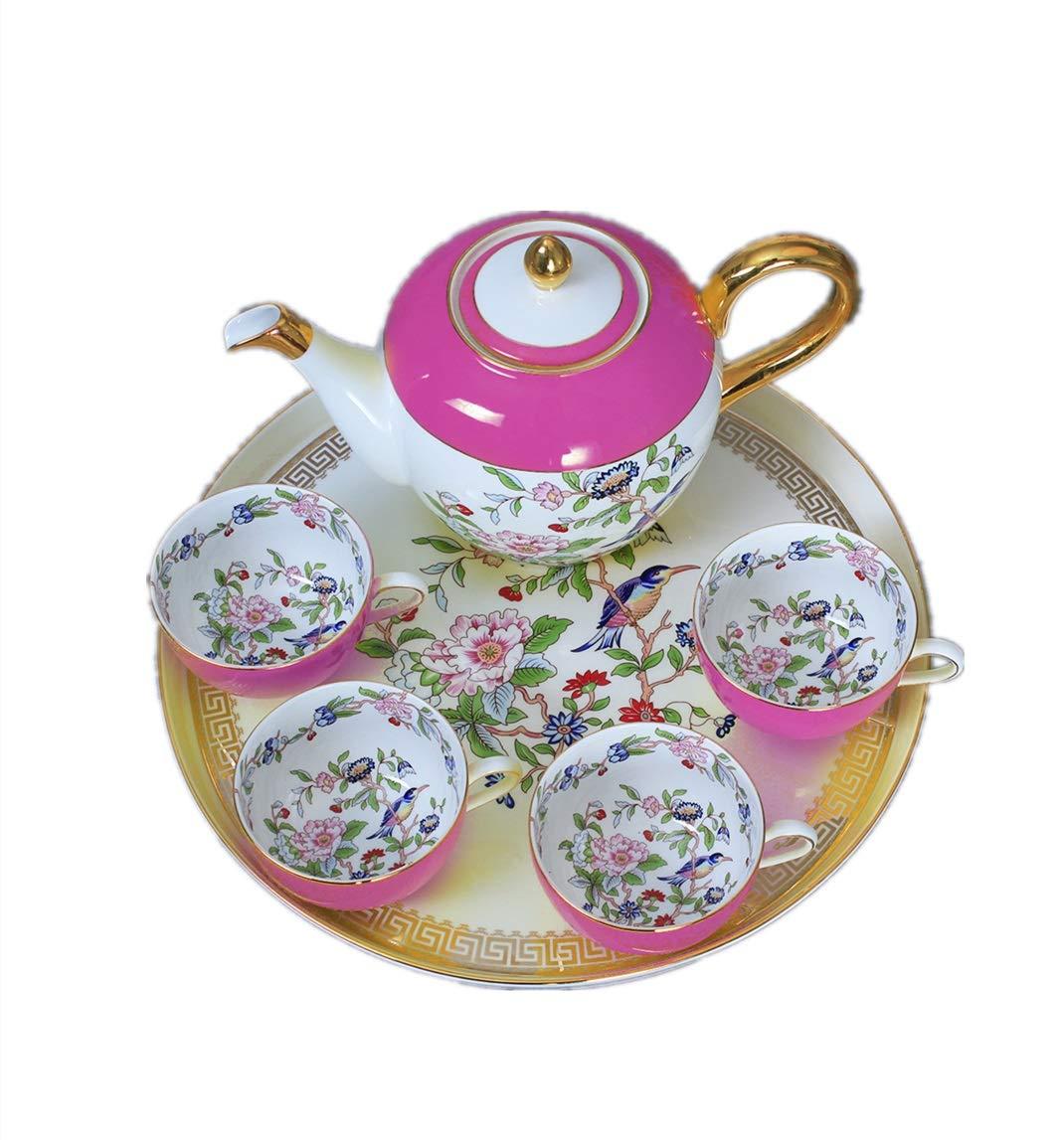 MTkxsy 審美的な陶磁器のコーヒーセットトレイ付き紅茶カップソーサーイエローカナリーコーヒーセット (Color : Red) B07QVZ1JCP Red