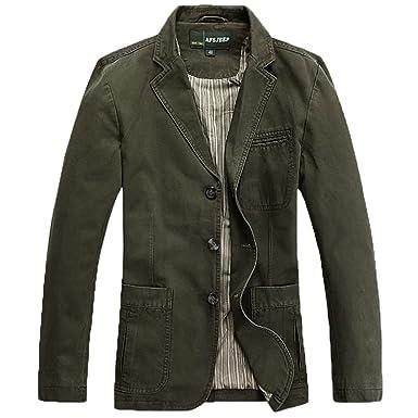 Amazon.com: Cccken Men's Military Slim Fit Button Fly Blazer ...