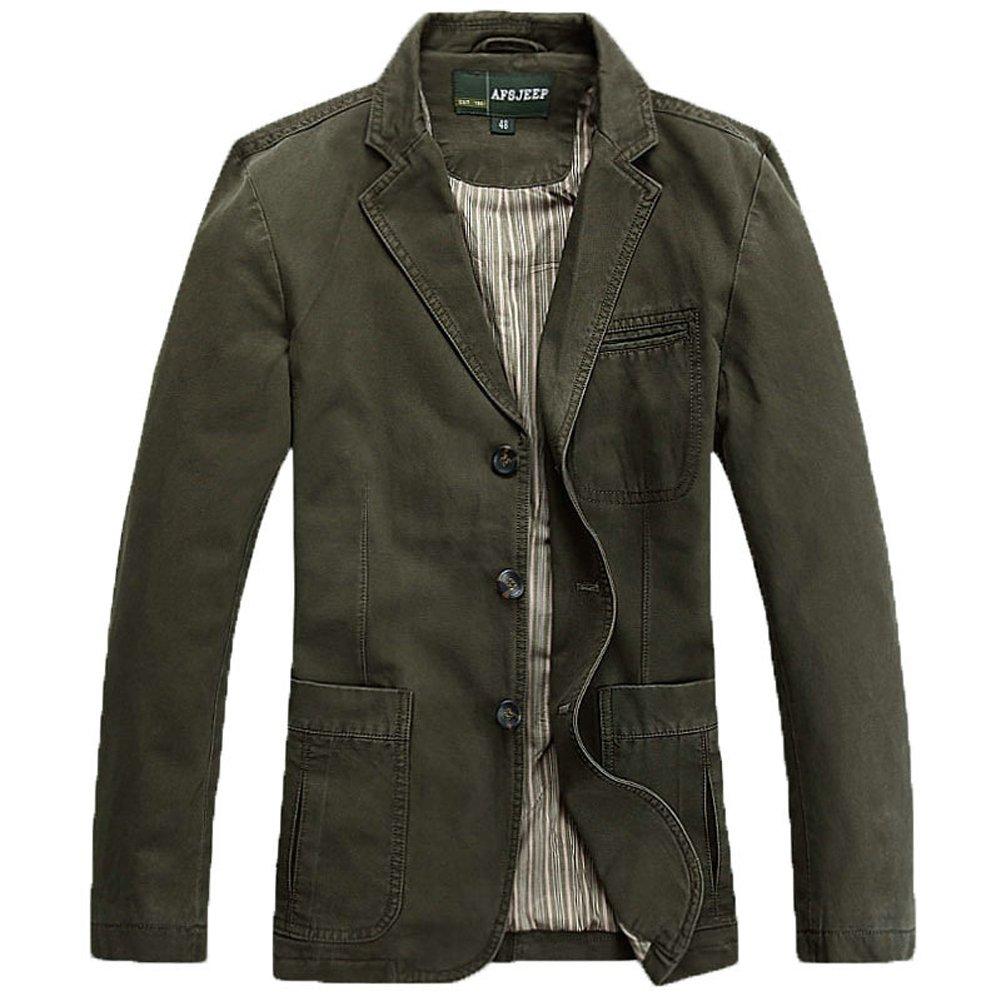 Cccken Men's Military Slim Fit Button Fly Blazer Cotton Sport Outwear Jacket(Army Green US S=Asia L 1320#)
