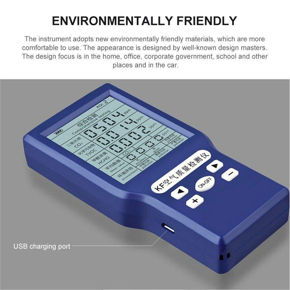 Detector de di/óxido de Carbono,Monitor de analizador de Gases Ahorro de energ/ía Tiempo de Espera prolongado Detector de Calidad del Aire para Interiores y Exteriores