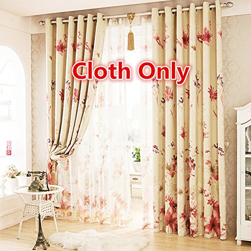 WPKIRA Window Treatments Country Rustic Polyester Flowers Print Elegant Thermal Insulated Grommet Semi Blackout Curtains Drapes for Living Room 1 Panel W75 x L96 inch