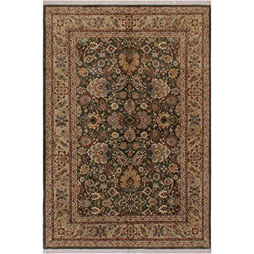 Mahal Pak-Persian Treena Green/Lt. Tan Wool Rug (6'2 x 9'2)