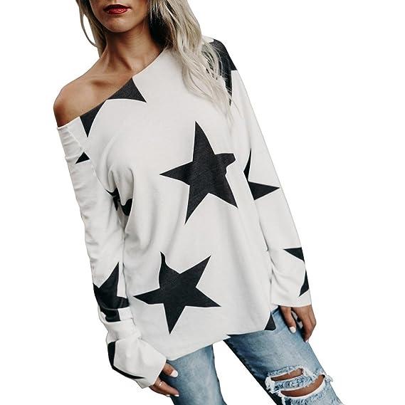 Blusa de invierno, RETUROM Moda mujer chica sin tirantes estrellas camisetas tops (S,