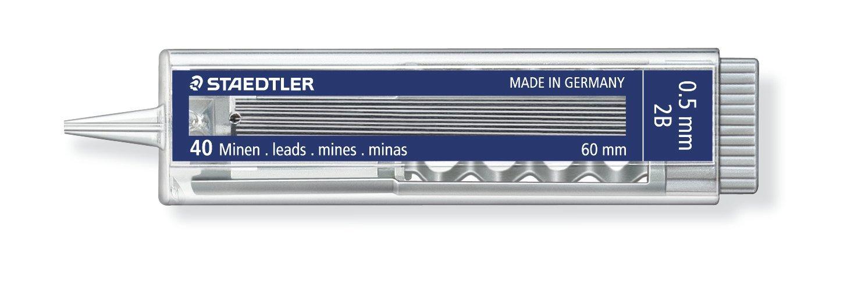Staedtler Mars Micro Fine Leads 255 05-2B, Lead diameter: 0.5 MM 2B, 40 count, pack of 10