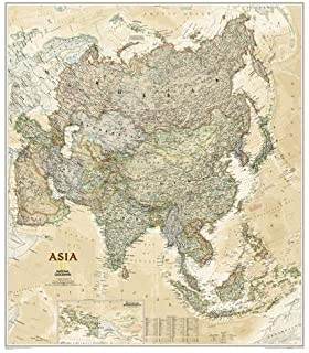 Amazon national geographic world executive map enlarged national geographic asia executive wall map laminated 3325 x 38 inches gumiabroncs Gallery