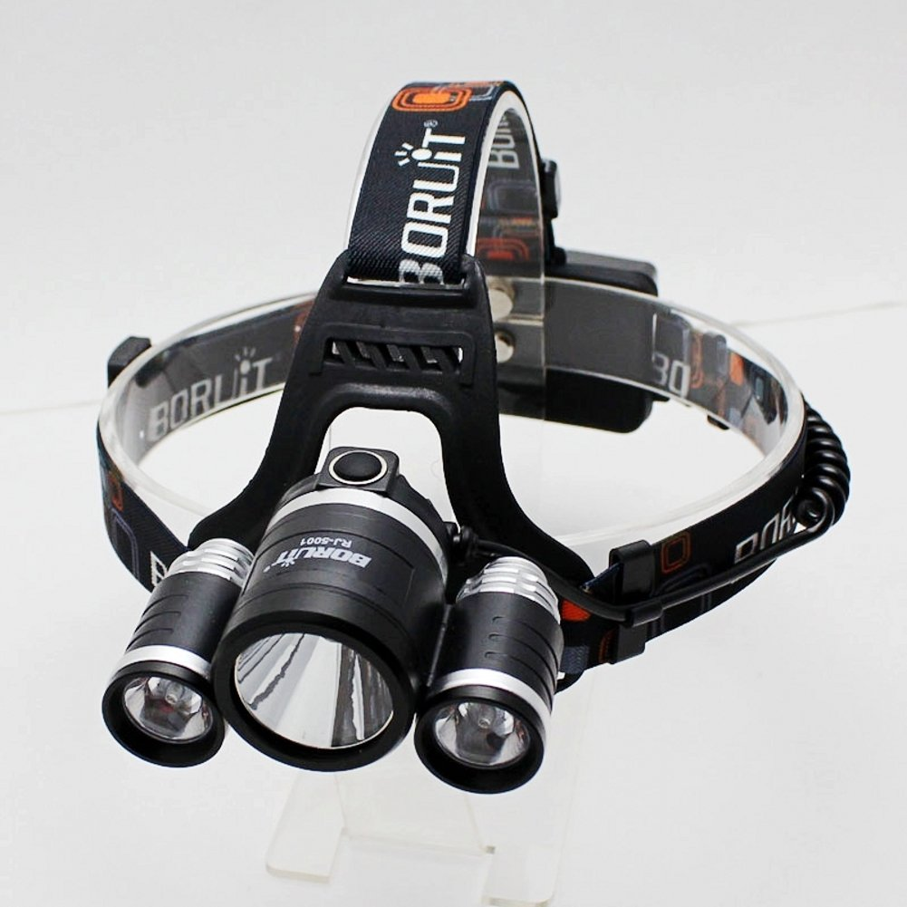 Boruit RJ5001 6500LM Cree XM-L 3 L2 LED Headlamp Rechargeable Waterproof Head light 30W High Power With USB Output