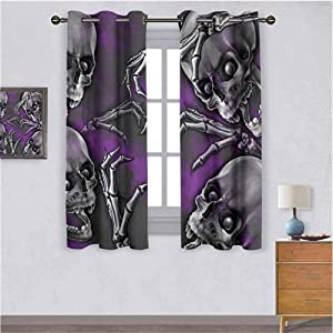 Energy Saving & Noise Reducing Bedroom Curtains SkullScary Creepy Spooky Happy Smiling Skeleton with Boned Hand Artwork Print Simple romantic curtain Purple Grey and Black W104 X L84 inch