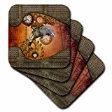3dRose Heike Köhnen Design Steampunk - Steampunk, wonderful steampunk dolphin - set of 4 Ceramic Tile Coasters (cst_269623_3)