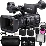 Sony PXW-Z150 4K XDCAM Camcorder 64GB Bundle 14PC Accessory Kit. Includes 2 64GB SD Memory Cards + 2 Replacement F970 Batteries + AC/DC Rapid Home & Travel Charger + 3PC Filter Kit (UV-CPL-FLD) + 160 LED Video Light + MORE