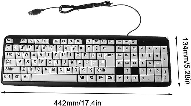 Teclado para juegos de ordenador con cable USB, diseño de teclas blancas y letras negras para personas mayores: Amazon.es: Oficina y papelería